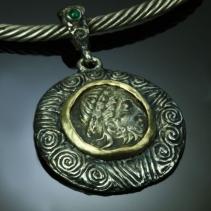 Celtic AR Tetradrachm, SS/14kt Pendant