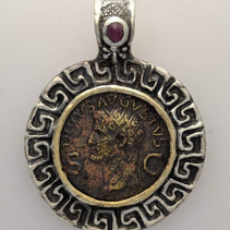 Ancient AE Agustus, SS/14kt Pendant