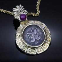 Janus, AR Denarius, 14kt Gold Pendant
