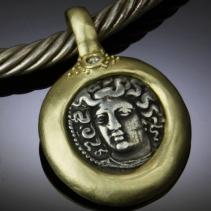 Larissa, AR Drachm, 14kt Gold Pendant