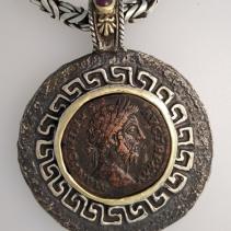 Marcus Aurelius, AE Sestertius, SS/14kt Pendant