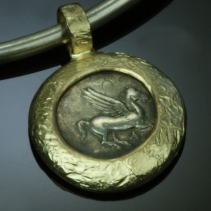 Pegasus, AR Stater, 14kt Gold Pendant