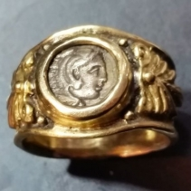 Alexander the Great, AR Diobol, 14kt Gold Wide Band Ring