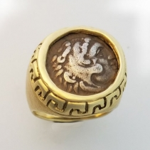 Alexander the Great AR Drachm 14kt Gold Ring