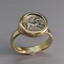Pony, AR Trihemiobol 14kt Gold Ring