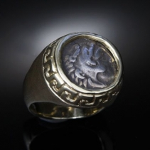 Alexander the Great, AR Drachm, 14kt Gold Ring