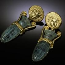 Carved Aquamarine Amphorae 14kt Gold Coin Replica