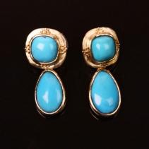 Sleeping Beauty Turquoise 14kt Gold Earrings