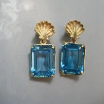 Blue Topaz, 14kt Gold Earrings