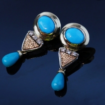 Sleeping Beauty Turquoise, Diamond, 14kt Earring, SOLD