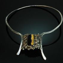 Gold Coated Black Onyx, Sterling Silver Necklace with Citrines