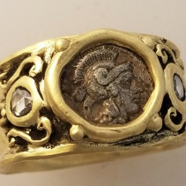 Athena, Ancient coin, 14kt Gold Wide Band