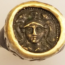 Athena Facing Forward, Bronze Coin in Sterling Silver and 14kt Gold Ring