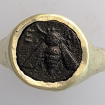 Ancient Bronze Bee, 14kt Gold Ring