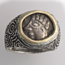 Ancient Celtic Coin, SS/14kt Gold Ring
