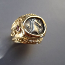 Horse Head Coin, 14kt Wide Band