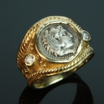 Alexander the Great, 14kt Wide Band with Diamonds