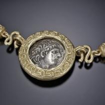 Antiochus VII, 14kt Pendant on SS/14kt Torque