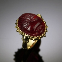 Fine Rubellite Tourmaline Scarab in 18 Karat Ring