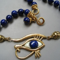 Lapis, 14kt Eye of Horus Necklace, SOLD