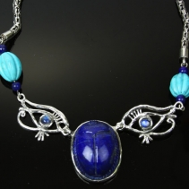 Carved Lapis Scarab, Eye of Horus Necklace