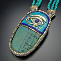 Ancient Egyptian Pottery, SS/14kt  Pendant with Turquoise, Lapis Mosaic