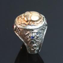 SS/14kt Scarab Ring