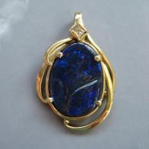 Carved Black Opal, Diamond, 14kt Gold Pendant