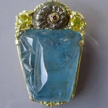 Carved Aquamarine, 14kt Gold Pendant with Ammonite Fossil and Yellow Sapphires