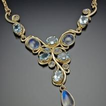 Aquamarine and Rainbow Moonstone, 14kt Gold Art Nouveau Necklace