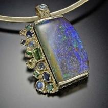 Boulder Opal, 14kt Gold Pendant