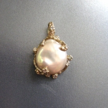 Freshwater Pearl, Diamond, 14kt Gold Pendant