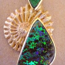 Boulder Opal, Uvarovite Garnet, 14kt Gold Ammonite Pendant