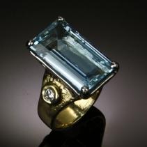 Fine Aquamarine, Diamond in Platinum/14kt Gold Ring