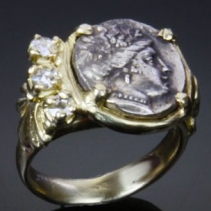 Ancient Coin, Maenad, 14kt Gold Ring with Diamonds