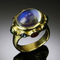 Rainbow Moonstone 14kt Gold Ring