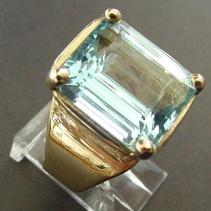 Aquamarine, 14kt Gold Wide Band Ring