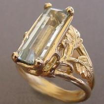 Aquamarine, 14kt Gold Ring, Leaves