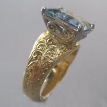 Aquamarine, 18kt Gold and Platinum Ring