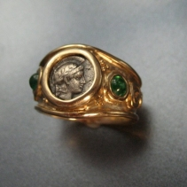 Athena, Ancient Coin, 14kt Gold Ring with Emeralds