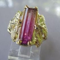 Bicolor Tourmaline, 14kt Gold Ring in Leaf Design