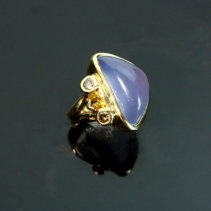 Lavender Chalcedony, 14kt Gold Ring with Brown Diamonds and Garnet