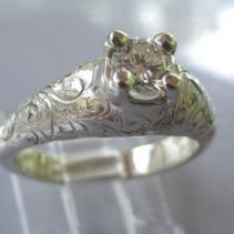 Diamond, Engraved 14kt White Gold Ring
