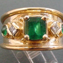 Emerald, Diamond, 18kt Gold Wide Band