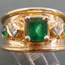Emerald, Diamond, 18kt Gold Wide Band