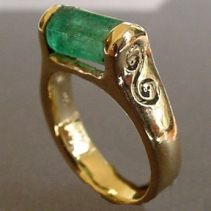 Emerald Crystal, 14kt Gold Ring