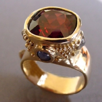 Garnet, 14kt Gold Ring with Sapphires and Rainbow Moonstones