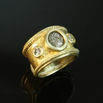 Ancient Coin, 14kt Gold Wide Band Ring with Diamonds