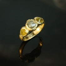 Rose Cut Natural Color Diamonds in 14kt Gold Ring