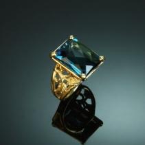 Blue Topaz, 14kt Gold Ring